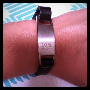 NWT Fossil Black Leather Bracelet